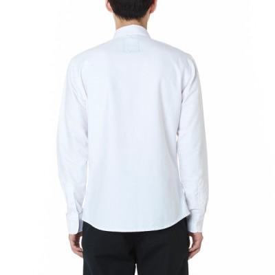 체커보드 우븐 긴팔 버튼다운 셔츠